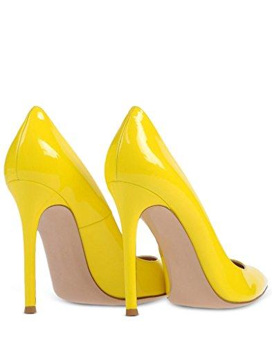 EDEFS Femmes Artisan Fashion Escarpins Unis Classiques Lady Travail Bureau Pointus Des Couleurs Chaussures à talon haut de 100mm Jaune