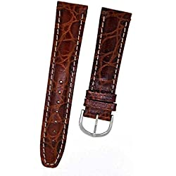 Original Fortis 8809 Watch Strap Brown Leather with White Stitching 16 mm