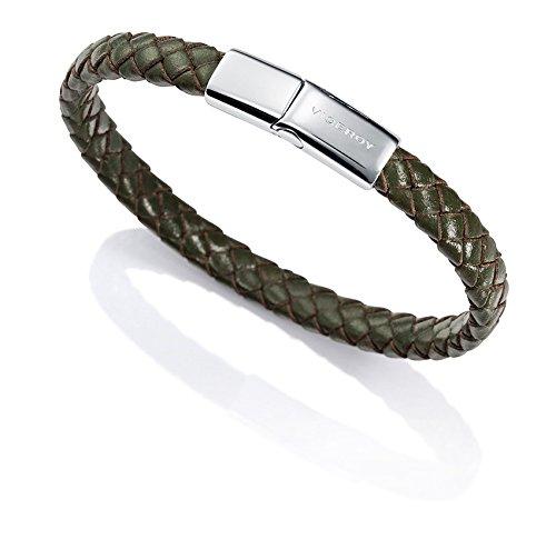 Imagen de pulsera acero y piel verde sr fashion