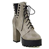 Womens Block Super High Heel Ankle Boots Shoes Platform Lace-Up Zipper Chunky Retro Studs Boots Autumn Winter Fashion Booties