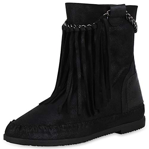 SCARPE VITA Damen Stiefeletten Mokassin Boots Wildleder-Optik Stiefel Fransen 170838 Schwarz 37