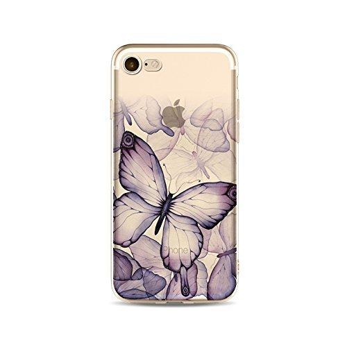 Coque iPhone 6 6s Housse étui-Case Transparent Liquid Crystal en TPU Silicone Clair,Protection Ultra Mince Premium,Coque Prime pour iPhone 6 6s-Le Papillon-style 4 2