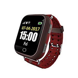 Wayona Elder's GPS Tracker with Heart Rate Touch screen Smart Wrist Watch ,GSM & WIFI System. (Red)