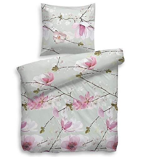 Heckett & Lane Biber-Flanell Bettwäsche Jin l Größe 135x200 cm 80x80 l Farbe Multi l Blumendesign l Reine Baumwolle