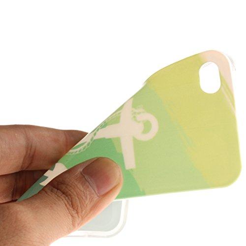 Coque Housse pour Apple iPhone 4/4S, Apple iPhone 4/4S Coque Silicone Etui Housse, Apple iPhone 4/4S Souple Coque Etui en Silicone, Apple iPhone 4/4S Silicone Transparent Case TPU Cover, Cozy Hut Etui Vert lance Sea