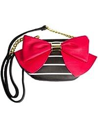 Betsey Johnson Bow Bow Bow Black Bone Stripe Faux Leather Red Bow Detail Crossbody Handbag