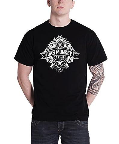 Gas Monkey Garage T Shirt Banner Logo Kustom Builds nouveau officiel Homme Noir