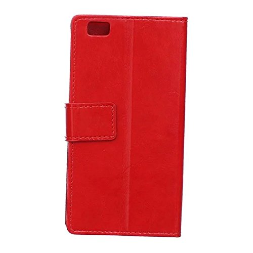 Verrückte Pferd Texture Pattern synthetische PU-Leder Fall horizontale Flip-Ständer Case Wallet Fall Deckung Solid Color Case für Huawei P8 ( Color : White , Size : Huawei P8 ) Red