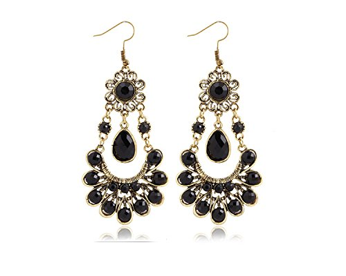 Bold N Elegant Vintage Statement Black Chandelier Long Drop Earrings Bridal Collection...