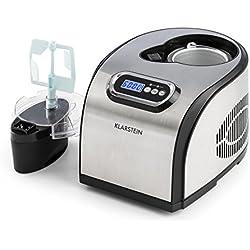 Klarstein Sweet Dreams • Heladera • Máquina de helados • Yogurtera • Compresor • Para helados yogures caseros • 1,5 Litros • Temporizador configurable • Sacabolas de helado • 150 W • plateado