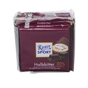 German Ritter Sport Chocolate Semi Dark with 50% Cocoa - 5 x 100 g
