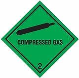Schilder und Etiketten amzcasslas410Easy Peel komprimierte Gas 5,1cm Hazard ACHTUNG Diamant, selbstklebendes Vinyl, 100mm H, 100mm W