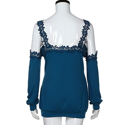 Topgrowth Donna Lace Trim Camicetta a Maniche Lunghe Tinta Unita Festa Casuale Camicetta Elegante Off Shoulder T-shirt Top Blu