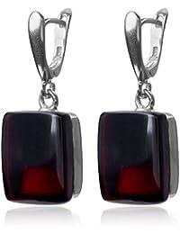 Cherry Amber Sterling Silver Rectangular Shaped Leverback Earrings