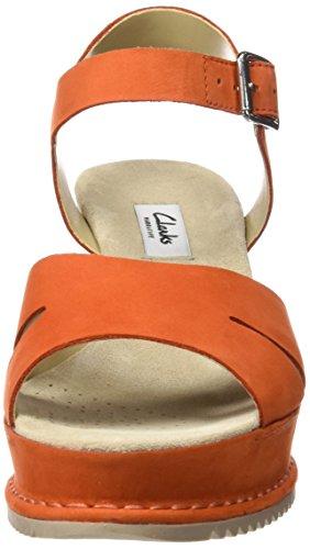Clarks Akilah Eden, Sandales Bout Ouvert Femme Orange (Orange Nubuck)