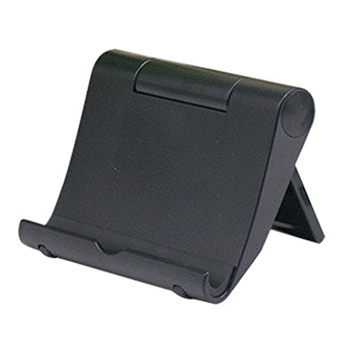 SMILEQ Soporte de Escritorio Plegable Universal de la Cuna del Soporte del Tenedor para la Tableta del teléfono Celular (Negra)