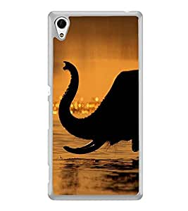 PrintVisa Black Elephat Bathing High Gloss Designer Back Case Cover for Sony Xperia Z4