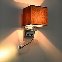 Moderno Led Fabric + Lampada da parete in ferro Decorazione Double Tube E27 Interruttore Illuminazione Camera da letto Reading Comodino Nero / Bianco / Marrone / Lino, B, Marrone