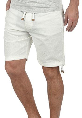 Indicode Moses Herren Leinenshorts Kurze Leinenhose Bermuda Mit Kordel Regular Fit, Größe:L, Farbe:Off-White (002)