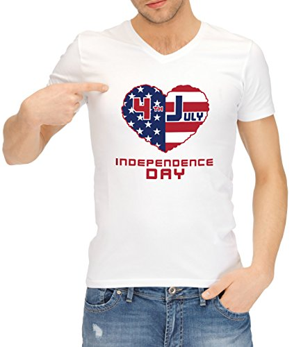 Catch T-Shirts - American Independence Day Flags Collection Men's Classic V-Neck T-Shirt Bianco X-Large