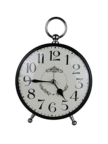 Tischuhr Nostalgie Antik Vintage Retro Metall Standuhr Dekowecker Uhr Wecker Design (schwarz 27-4)