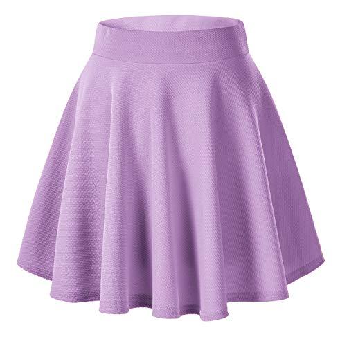 Urban GoCo Falda Mujer Elástica Plisada Básica Patinador Multifuncional Corto Falda (X-Large, Lilac)