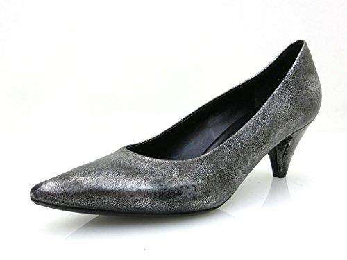 YKX & Co. Luxuspumps Leder Schuhe Damen silber schwarz 2005