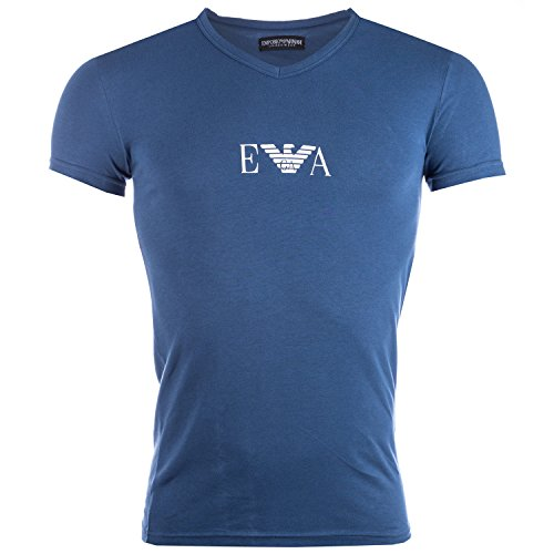 Mens Armani Mens Stretch Cotton V-Neck T-Shirt in Blue for sale  Delivered anywhere in UK