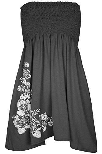 Pour femme Motif Roses à Paillettes strass Sheering-Clothings Robe bustier à bascule haut Charbon