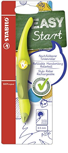 Ergonomischer Tintenroller für Linkshänder - STABILO EASYoriginal in limone/grün - Schreibfarbe blau (löschbar) - inklusive Patrone -