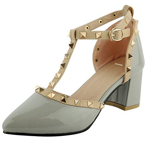 Artfaerie Damen T-Spangen Riemchen Sandalen mit Schnalle und Nieten Blockabsatz Spitze Pumps Ankle Strap Lack Schuhe Ankle Strap T-strap-pumps