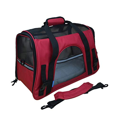 Nihlsen Tragbare Größe Haustier Rucksack Messenger Tragetaschen Katze Hund Träger Ausgehende Reisepakete Atmungsaktive Haustier Handtasche - Rot -