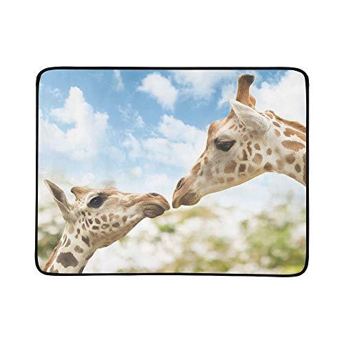 KAOROU Baby Giraffe Mutter Landschaft Tragbare Und Faltbare Deckenmatte 60x78 Zoll Handliche Matte Für Camping Picknick Strand Indoor Outdoor Reise