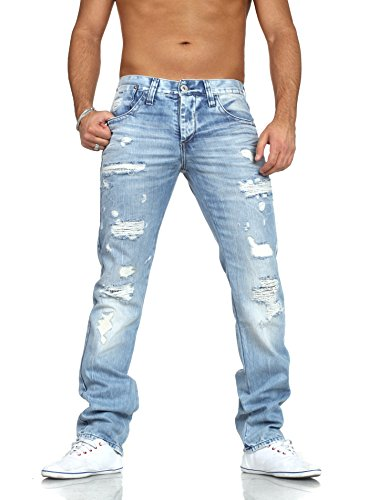 Red Bridge Men's Jeans Trousers Destroyed Denim Jeans Straight Leg