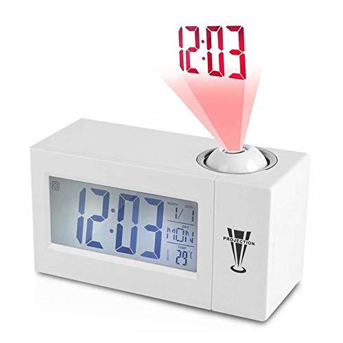 TEEPAO Reloj despertador de proyección, 6.2 pulgadas, función de repetición, reloj de mesa con temperatura exterior, reloj despertador digital LCD con cargador USB, temporizador de techo ajustable