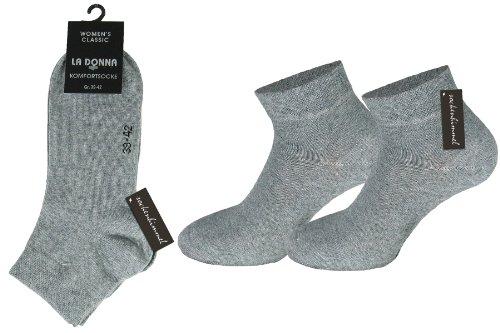Damen Diabetiker-quarter Socken (Damen Kurzschaft Socken Quarter-Socken 6er Pack aus Baumwolle mit Komfortbund ohne Gummi (35-38, Silber))