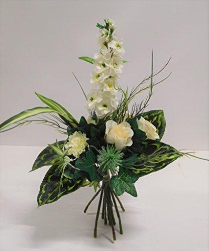 Ziegler Stehstrauß Rosen Rittersporn Strauß Seidenblume Kunstblume weiß creme 30 cm 13-2340-27 F9