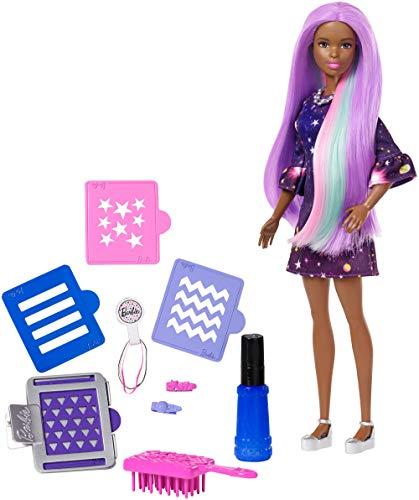 Barbie chioma multicolore,con capelli cambia colore e stencil, fhx01