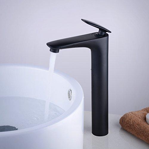 Grifo Mezclador Para Lavabo Grifo de baño Alto Agua, Negro Mate