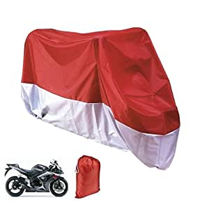 XXL Motorcycle Motorbike Waterproof Dustproof UV Protective Breathable Cover Outdoor Red/Silver w/ Carry Bag
