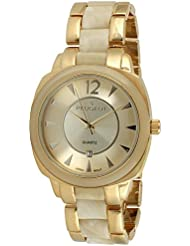 Reloj de las mujeres 7096GCR de oro-tono marfil de concha de tortuga reloj de pulsera
