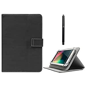 DMG Protective Flip Book Cover Stand View Case for Asus Fonepad K004 (ME371MG ) (Black) + Capacitive Touch Screen Stylus
