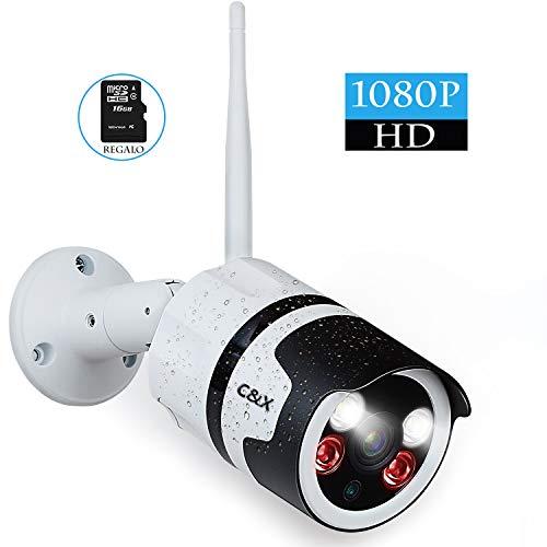 Telecamera Esterno WIFI 1080P IP Camera Videocamera Sorveglianza Cam,Telecamera a Colori,Rilevamento a Infrarossi,Audio Bidirezionale,IP66,128GB SD Max,Supporta Windows/IOS/Android(16GB SD)