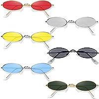 6 أزواج نظارات شمسية بيضاوية عتيقة بإطار معدني بيضاوي نظارات شمسية نحيلة لون حلوى نظارات شمسية نظارات شمسية