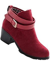 VECJUNIA Damen Doppel Abnehmbare Gürtelschnalle Slouch Stiefel Pull On Langschaftstiefel Schuhe Braun 43