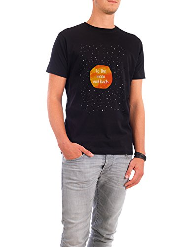 "Design T-Shirt Männer Continental Cotton ""To the moon"" - stylisches Shirt Typografie Liebe von artboxONE Edition Schwarz"