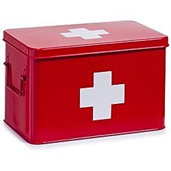 Zeller 18116 Boite à pharmacie en mètal rouge, 32 x 19,5 x 20 cm