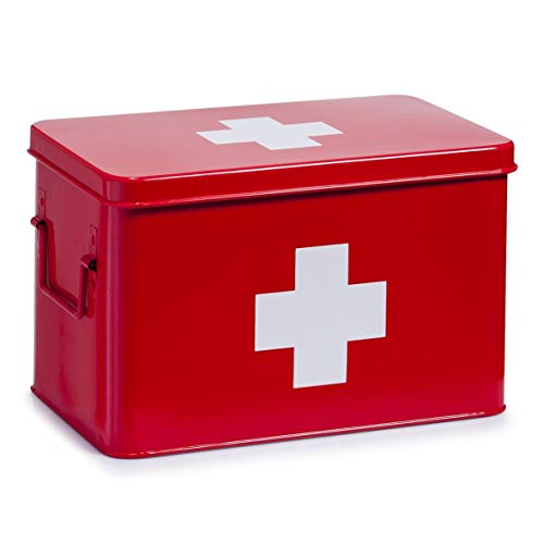 Zeller Present - Caja de metal para medicamentos (32 x 19,5 cm), color rojo