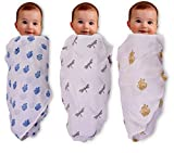 MOM'S HOME Organic Cotton Baby Muslin Cloth Swaddle with Butterfly, Royal Elephant, Turtle Print, 0-18 Months (Multicolour)- Pack of 3
