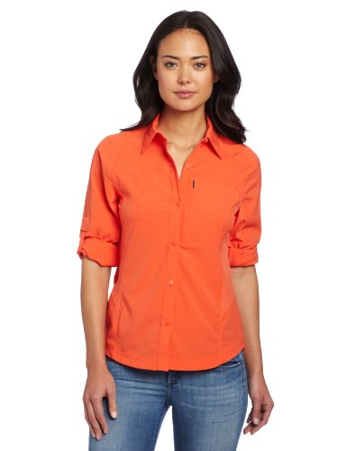 Columbia Langarm-Wanderhemd für Damen, Silver Ridge Long Sleeve Shirt, Nylon, orange (zin